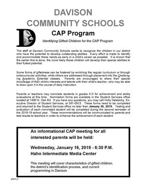 informational meeting about district gifted program set for january 16 2019