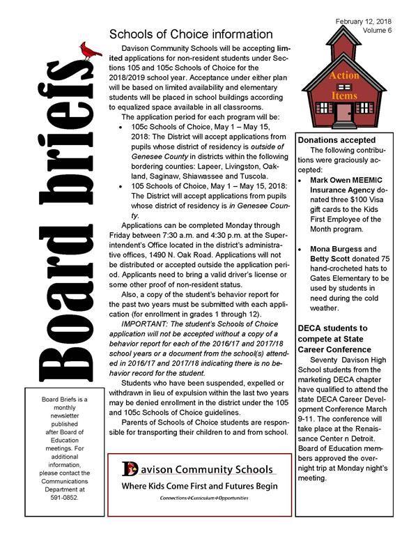 Davison community schools homepage february board briefs sciox Choice Image