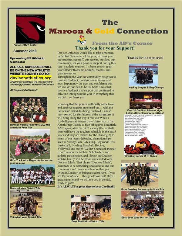 Maroon and Gold Connection Newsletter - Summer 2018