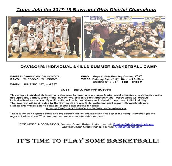 Summer Basketball Camp Information