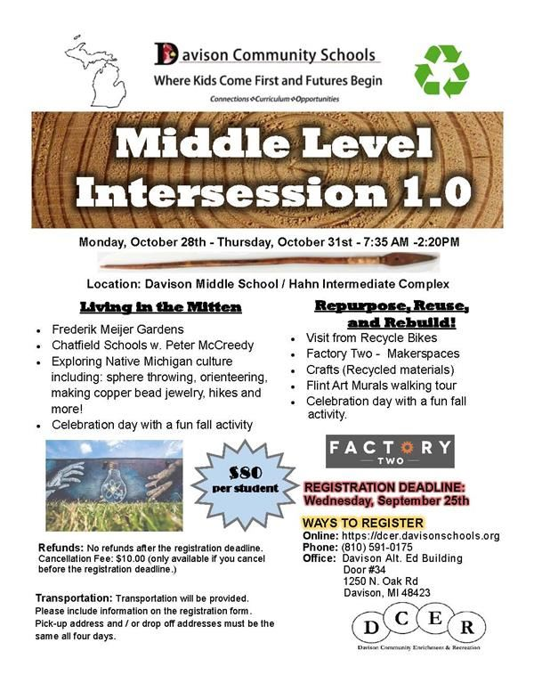 Intersession Information for Grades 5-8