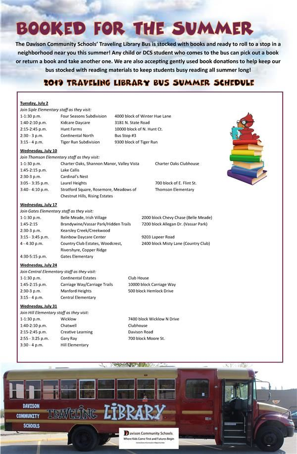 DCS Traveling Library Bus Summer Schedule