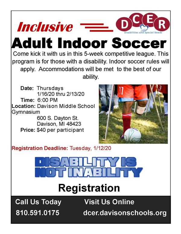 DCER to offer Inclusive Soccer for Adults with Disabilities