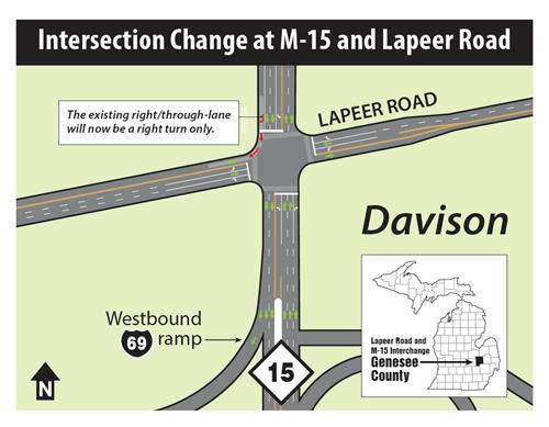 Intersection Change at M-15 and Lapeer Road Map